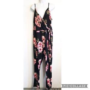 Derek Heart Plus Size Floral Printed Jumpsuit